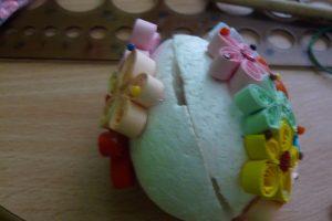 Quillingové vajíčko výroba z boku