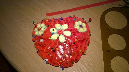 Quilling hotove srdiecko